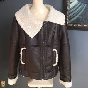Coffeeshop brown vegan leather/sheepskin jacket, L